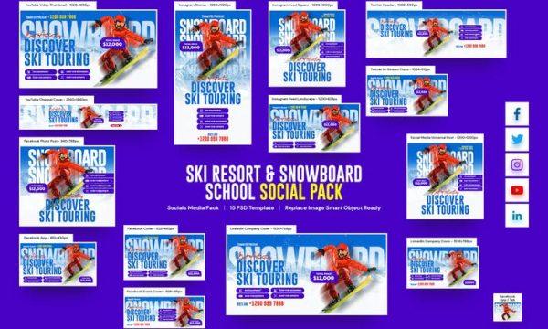 Ski Resort & Snowboard School Social Pack