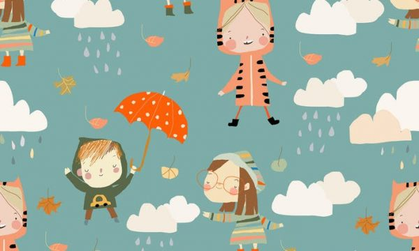 Vector Seamless Pattern with Kids wearing Colorful VUSZ2F6