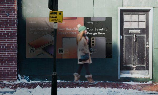 Wall Street Poster Mockup S692NHK