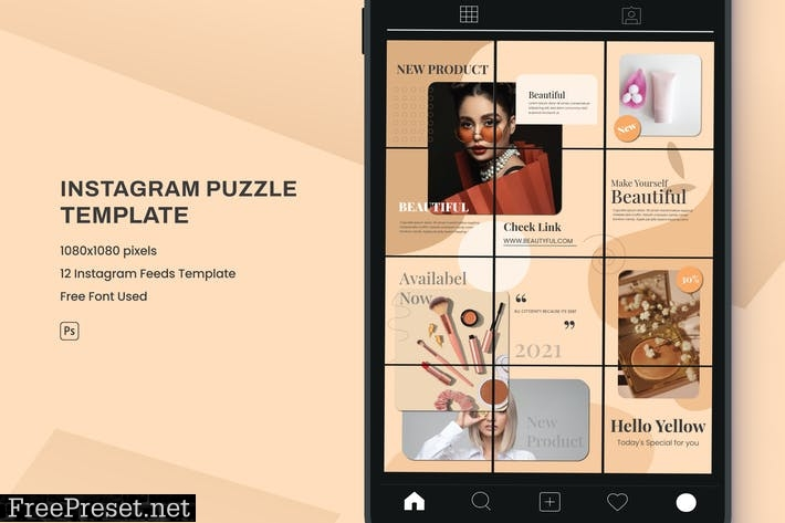Beauty Instagram Puzzle Template MDU7S32