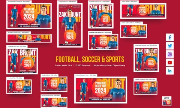 Football, Soccer & Sports Social Media Pack