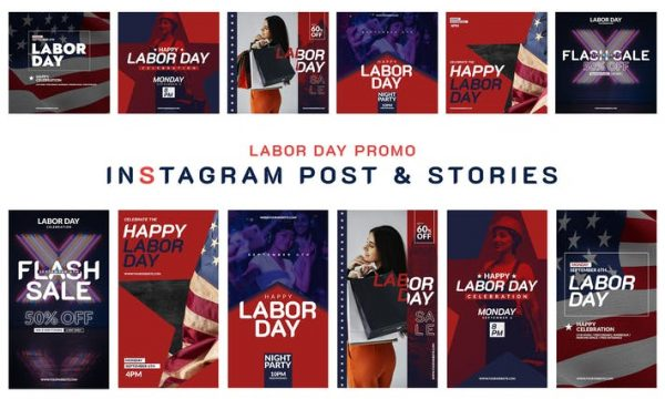 Labor Day Instagram Post & Story 2DYWT7P