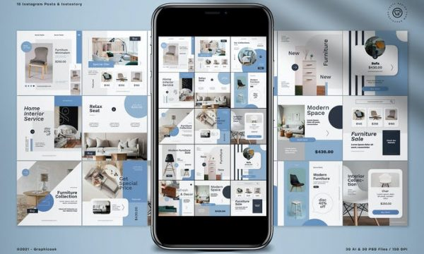 Monochrome Furniture Instagram Pack