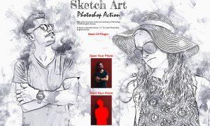 Pencil Sketch Art Photoshop Action 6397278