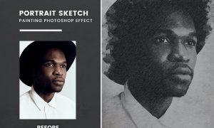 Portrait Sketch Painting photoshop Effect