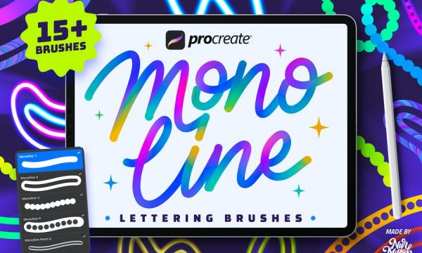 Procreate Monoline Lettering Brushes MM6UF4S