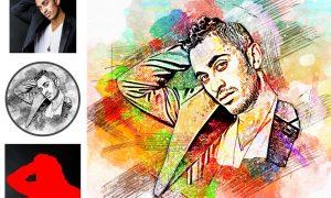 Sketch Watercolor Effect PS Action 5203559