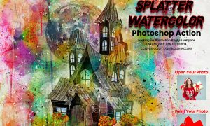 Splatter Watercolor Photoshop Action 5654650