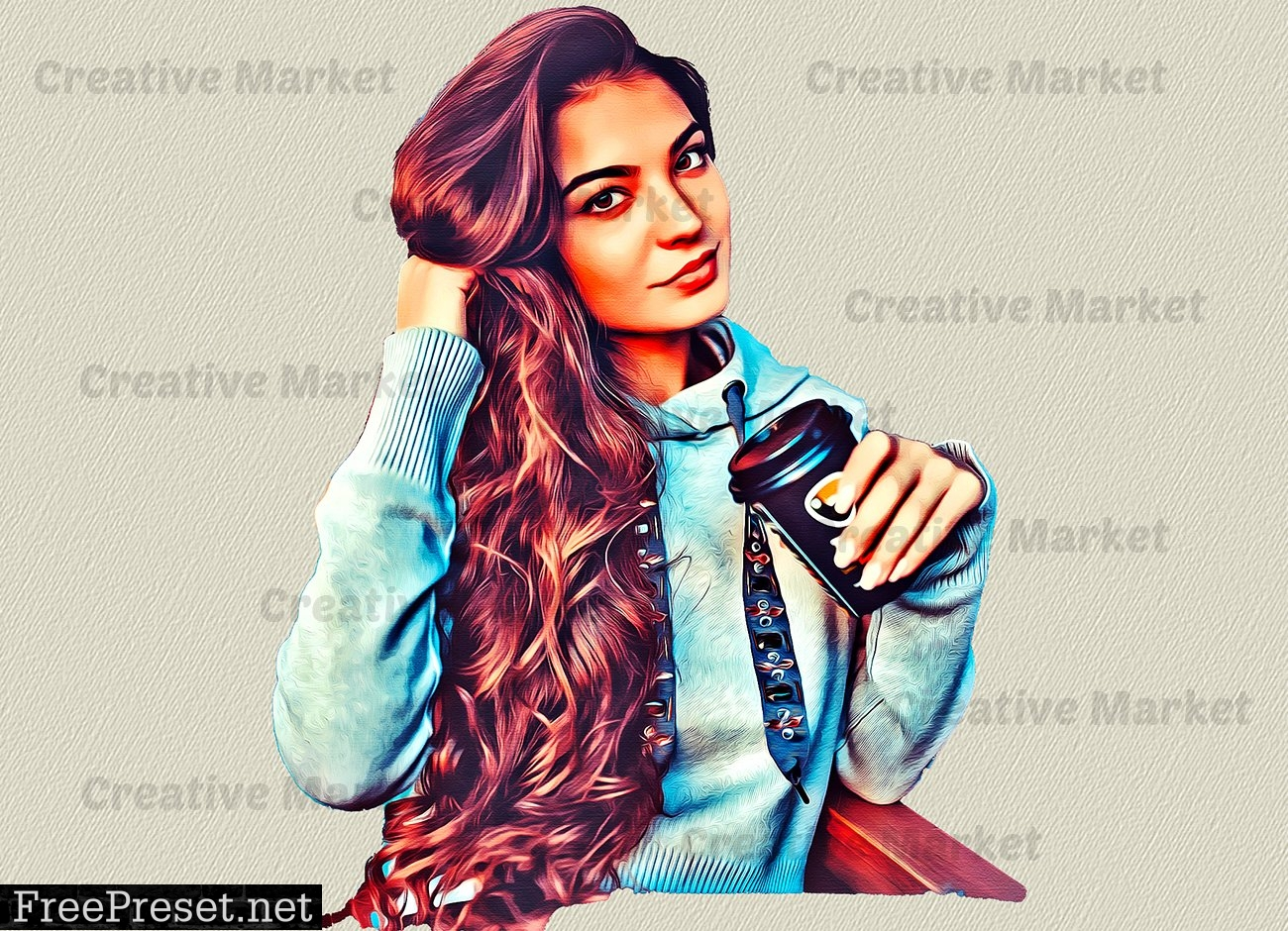 Canvas Oil Painting Photoshop Action 6481461