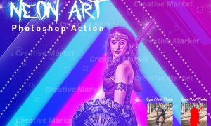 Neon Art Photoshop Action 6486009