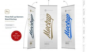 Three Roll-up Banners Stand Mockup 5245986